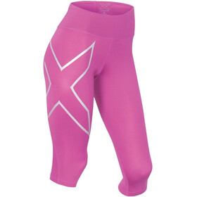 2XU W's Mid-Rise Compression 3/4 Tights Magenta/Silver logo
